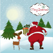 Santa Claus, Christmas greeting card — Stock Photo