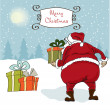 Santa coming, Christmas greeting card — Stock Photo