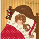 liten flicka väntar på santa på julafton — Stockfoto