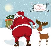 Santa Claus, Christmas greeting card — Stock Photo