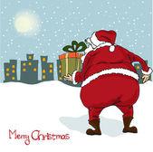 Santa viene, tarjeta de felicitación de navidad — Foto de Stock