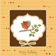 Birthday greeting card with funny little bird — Stock Photo #7884900