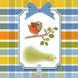 Birthday greeting card with funny little bird — Stock Photo #7884933