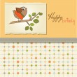 Birthday greeting card with funny little bird — Stock Photo #7884963