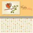 Birthday greeting card with funny little bird — Stock Photo