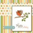 Birthday greeting card with funny little bird — Stock Photo #7884980