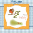 Birthday greeting card with funny little bird — Stock Photo #7884981