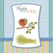 Birthday greeting card with funny little bird — Stock Photo #7884995
