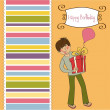 Birthday card with boy and big gift box - Stockfoto