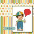 Birthday greeting card with little boy — Stock Photo