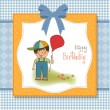 Birthday greeting card with little boy - Stockfoto