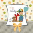 Birthday greeting card with little boy and presents — Stock Photo