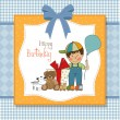 Birthday greeting card with little boy and presents - Stockfoto