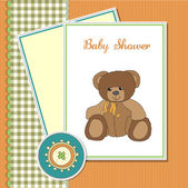 Baby greeting card with sleepy teddy bear — Stock Photo