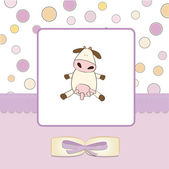 Kız tebrik kartı inek ile hoş geldiniz — Stok fotoğraf