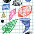 Hand drawn 3d shapes — Vettoriali Stock