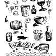 Hand drawn drink icons — Stock Vector
