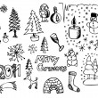 Hand drawn christmas objects — Stock Vector