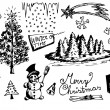 Hand drawn christmas objects — Stockvektor