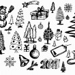 Stock Vector: Hand drawn christmas objects