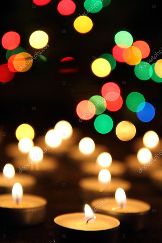 Candles and the christmas tree in the dark night — Stock Photo #7927177