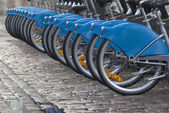 Bicycle tires in a row — Stock Photo