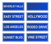 Set of Los Angeles street signs — Stock Photo