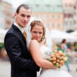 Bride and Groom Outside - Stock Photo