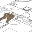 House key on a blueprint — 图库照片