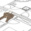 House key on a blueprint — Stock fotografie