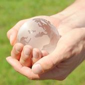 Globe in the hand — Stock Photo