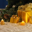 Golden Christmas on snow — Stock Photo #7579511