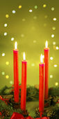 Four red candle — Stock Photo