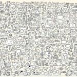 Massive Mega Doodle Sketch Notebook Vector Elements Set Illustration Art — Stock Vector