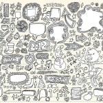 Notebook Doodle Speech Bubble Design Elements Mega Vector Illustration Set — Stock Vector