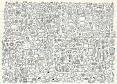 Massive Mega Doodle Skizze Notebook Vektorelemente set Illustration Kunst — Stockvektor