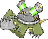 Crazy Cyborg Robot Warrior War Turtle Vector Illustration art — Stock Vector