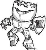 Doodle Sketch Cyborg Robot Chess Rook Warrior Vector Art Drawing Illustrati — Stock Vector