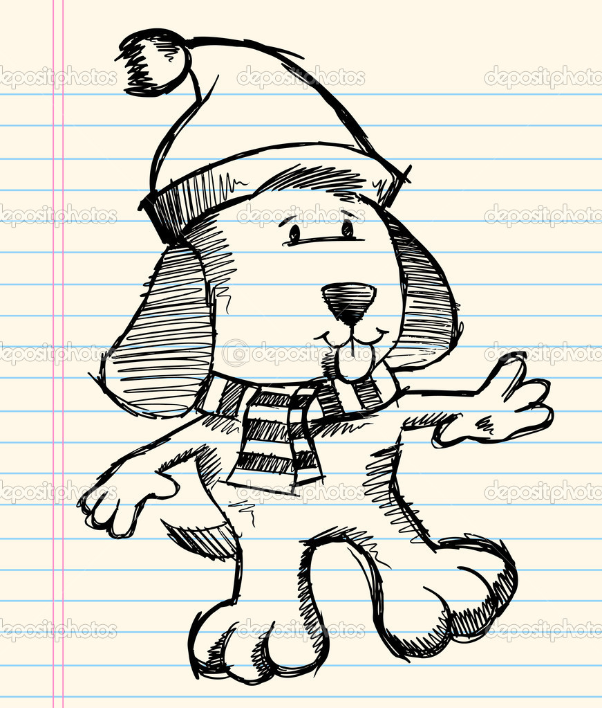 Christmas Puppy Drawing Winter Christmas Puppy Dog