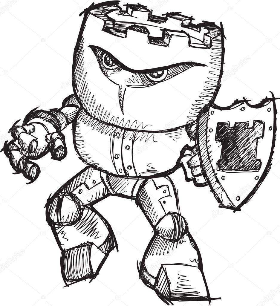 Robot Sketch Drawing Doodle Sketch Cyborg Robot