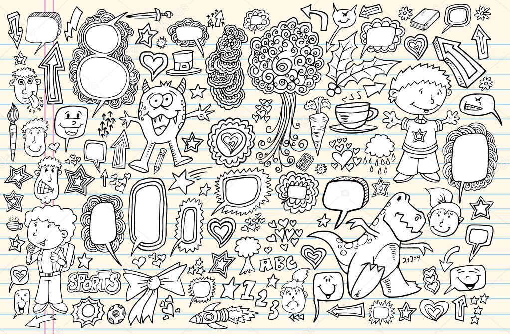 Notebook Doodle Speech Bubble Design Elements Mega Vector Illustration Set  — Stock Vector #7910722