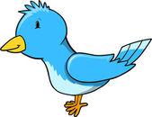 ładny mały niebieski ptak wektor ilustracja — Wektor stockowy