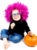 Little clown with pumpkin — Foto de Stock