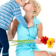 Son kisses mother loved — Stock Photo #6828605