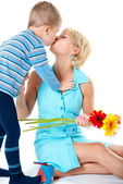 Son kisses mother loved — Stock Photo