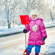 Royalty-Free Stock Photo: The girl with a shovel for snow