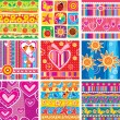 Set of childrens seamless pattern — Stok Vektör