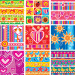 Set of childrens seamless pattern — Stockvectorbeeld