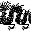 Vector de stock : Black and white dragon