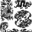 Stock Vector: Set of dragon